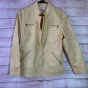 Chico's Yellow Light Weight Jacket Size 2  Med 12
